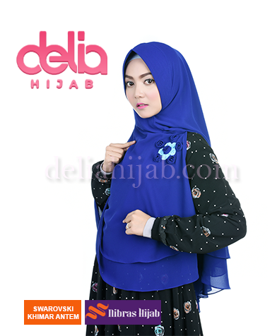 khimar nibras hijab swarovski antem biru