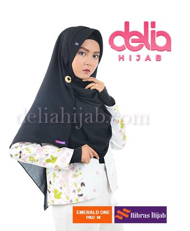 khimar nibras hijab emerald one m pad hitam