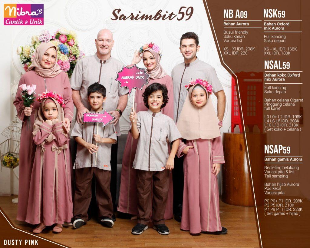 Sarimbit Keluarga Nibras terbaru 59 Dusty Pink