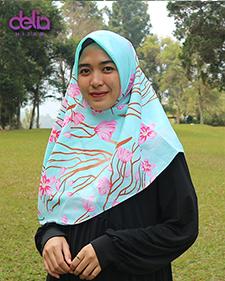 kerudung motif bunga warna pink tosca - delia hijab