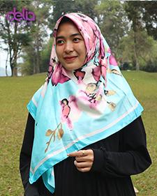 kerudung motif bunga pink biru - delia hijab
