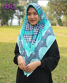 kerudung motif casual biru tosca - delia hijab