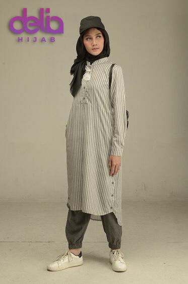 Baju Motif Garis - Delia Hijab - Inspire Tunik 001