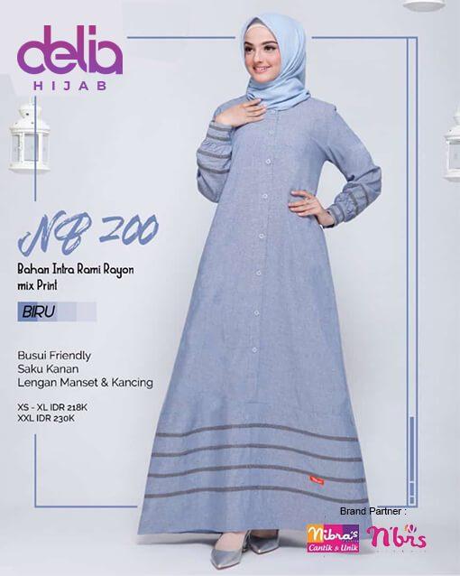 Gamis Polos - Delia Hijab - Nibras Terbaru NB 200