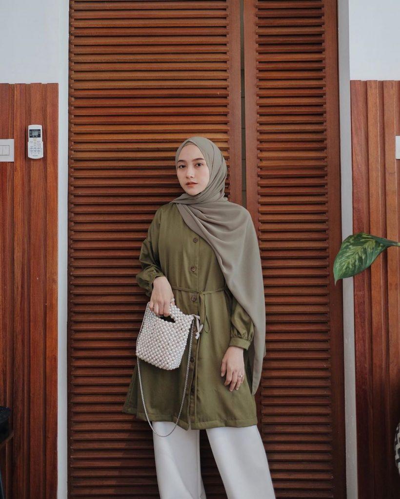 Ootd Hijab Warna Hijau Army Paduan Warna Hijau Army Delia Hijab