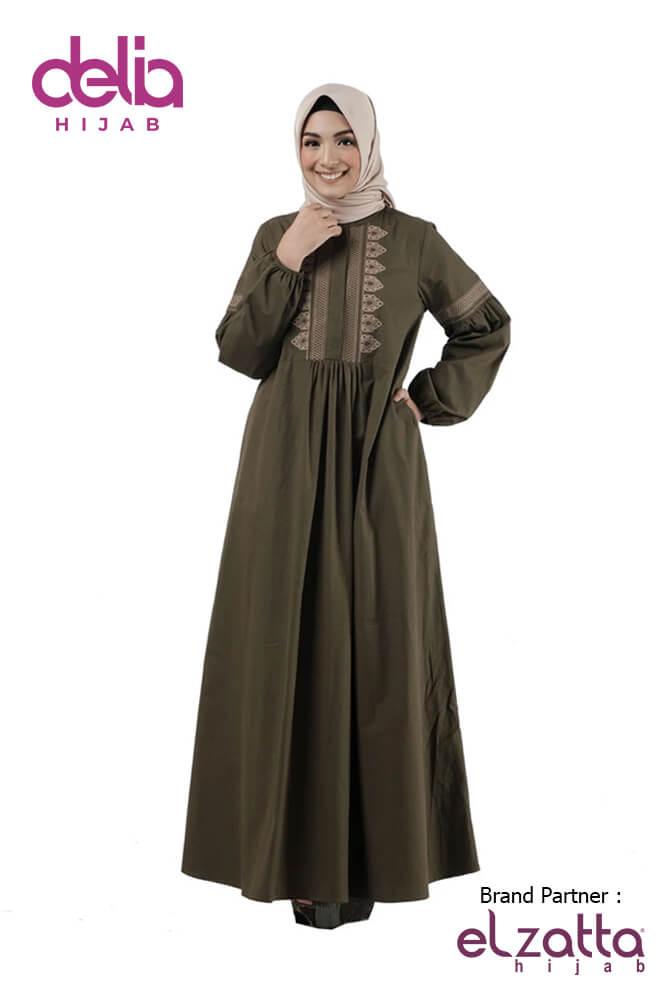 Baju Sarimbit Couple Lebaran - Gamis Elzatta Sarimbit Fadria Olive Wom