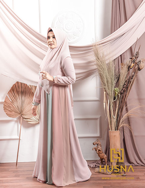 Delia Hijab X Husna Rainbow Dress Baju Gamis Lebaran 2020 Delia Hijab