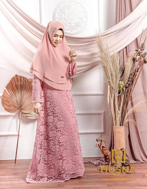 Delia Hijab X Husna Afra Lace Dress Baju Gamis Brokat Terbaru Delia Hijab