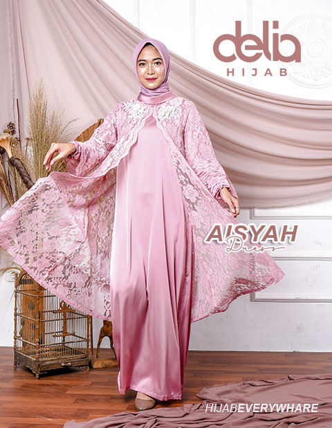 Baju Gamis Brokat Terbaru - Aisyah Dress - Delia Hijab Pink