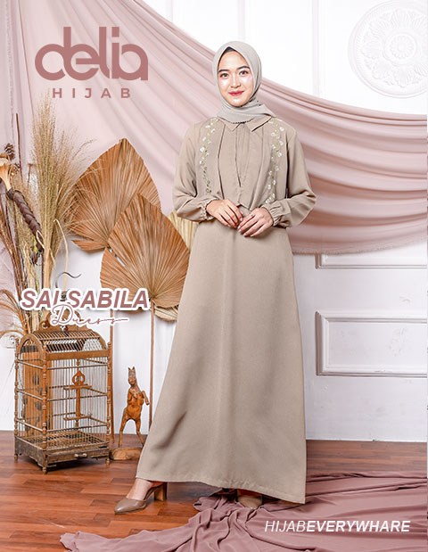 Baju Gamis Modern Terbaru 2020 - Salsabila Dress Abu - Delia Hijab