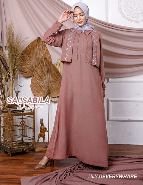 Baju Gamis Modern Terbaru 2020 - Salsabila Dress Coklat - Delia Hijab