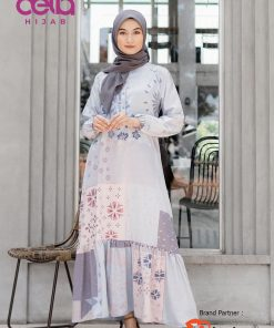 Baju Gamis Motif Modern - Azarin Dress - Nisrina Biru