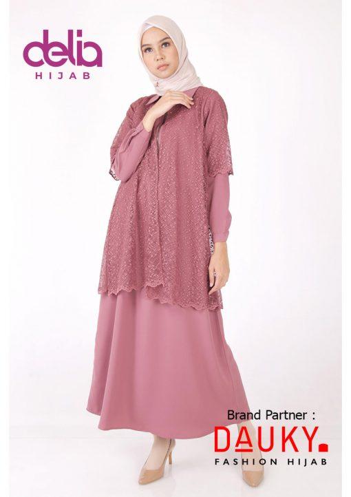 Baju Lebaran 2020 - Cryda Dress - Gamis Dauky Hijab Pink