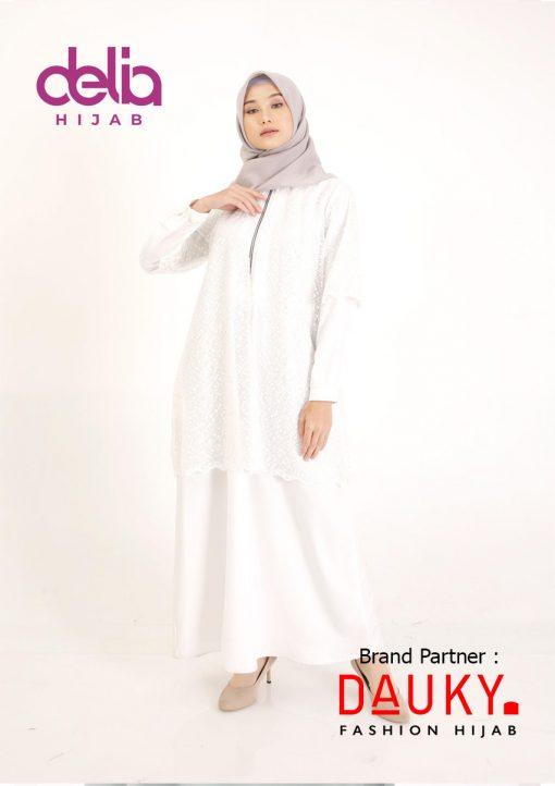 Baju Lebaran 2020 - Cryda Dress - Gamis Dauky Hijab White