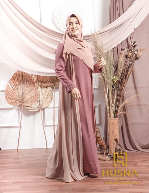 Delia Hijab x Husna – Fera Dress – Baju Gamis Modern Terbaru