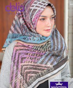 Kerudung Motif Ethnic - Ethnic Border Pink Scarf - Hijab Mandjha