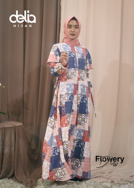 Baju Gamis Motif - Flowery Dress - Delia Hijab P