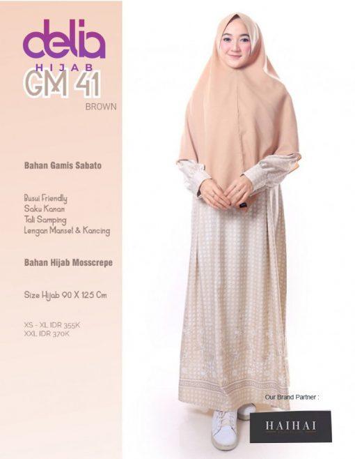 Baju Gamis Syar'i Modern - Gamis Dewasa Premium HaiHai GM 41 - BR