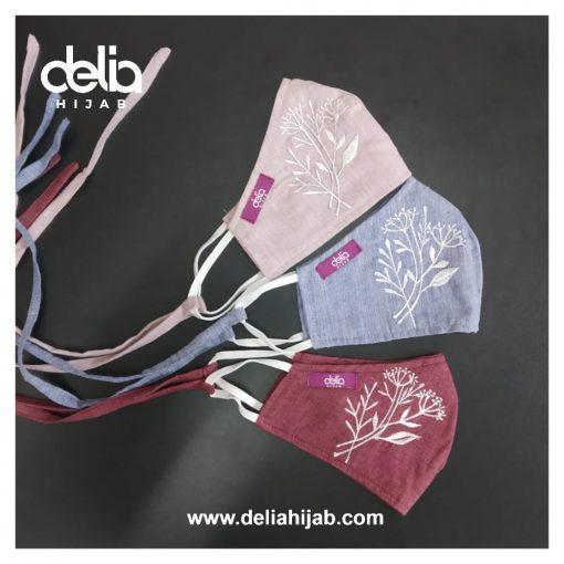 Masker Kain 2 Lapis - Masker Kain Bordir Autumn 2 - Delia Hijab