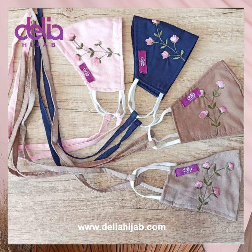Masker Kain 2 Lapis - Masker Kain Bordir Bunga A2 - Delia Hijab