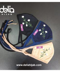 Masker Kain 2 Lapis - Masker Kain Bordir Bunga B2 - Delia Hijab