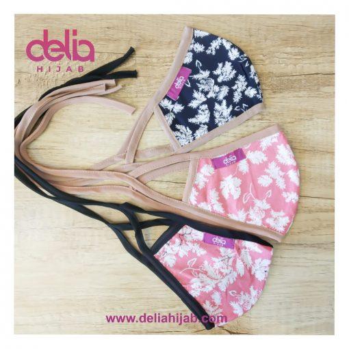Masker Kain 2 Lapis - Masker Kain Motif Bunga Leaves - Delia Hijab