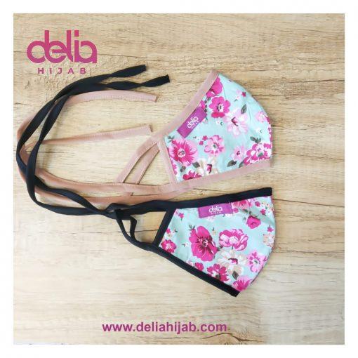 Masker Kain 2 Lapis - Masker Kain Motif Bunga Summer 1 - Delia Hijab
