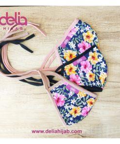 Masker Kain 2 Lapis - Masker Kain Motif Bunga Summer 2 - Delia Hijab
