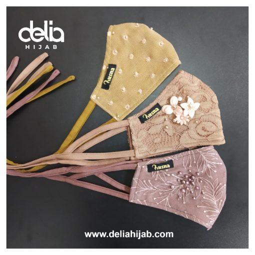 Masker Kain 3 Lapis - Masker Brokat Earth - Delia Hijab