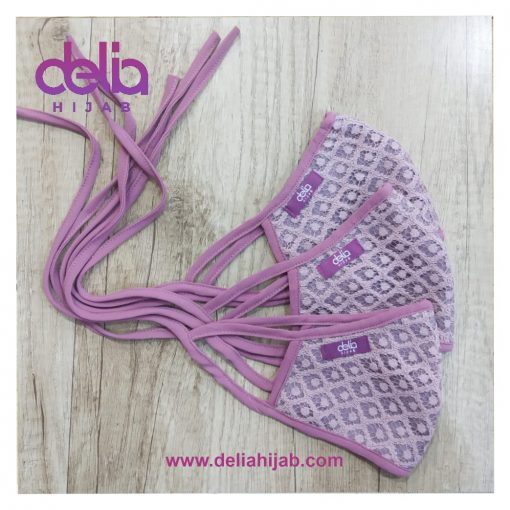 Masker Kain 3 Lapis - Masker Brokat Pattern - Delia Hijab