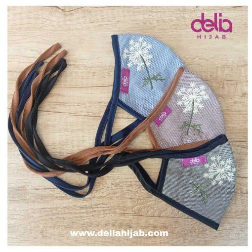 Masker Kain Hijab - Masker Bordir Dandelion - Delia Hijab