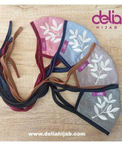 Masker Kain Hijab - Masker Bordir Daun - Delia Hijab