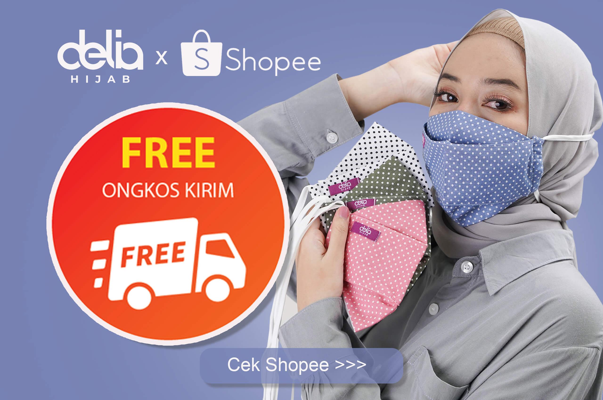 Delia Hijab Sukabumi - Masker Delia Hijab - Masker Kain 2 Lapis Hijab - Popup