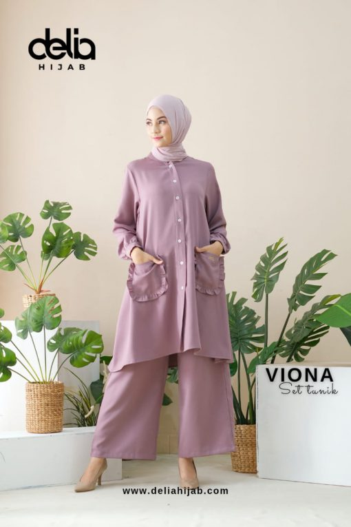 Setelan Muslim Casual - Viona Set Tunik - Delia Hijab