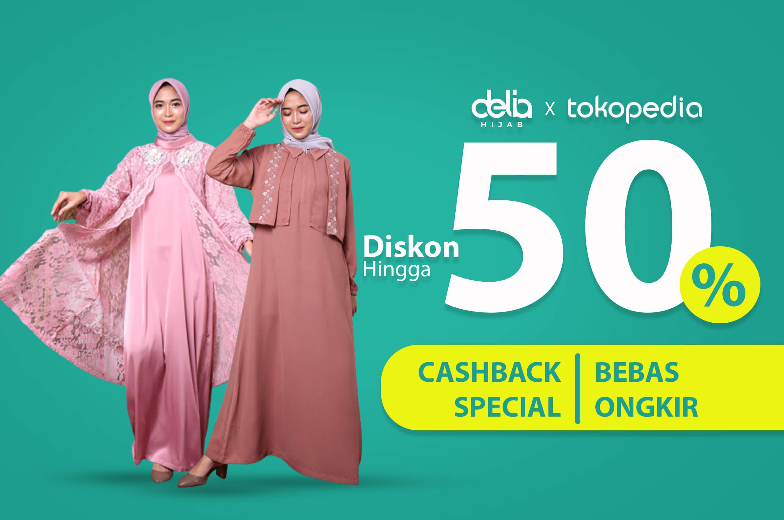 Promo Tokopedia Delia Hijab - Waktu Indonesia Belanja Tokopedia WIB P 190221