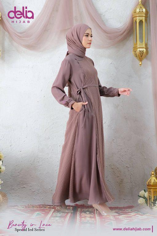 Baju Gamis Renda - Kamila Dress - Delia Hijab Coklat