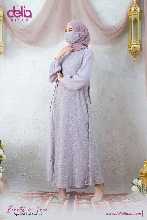 Baju Gamis Renda - Kania Dress - Delia Hijab Abu