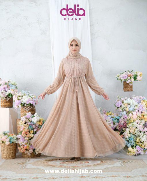 Baju Gamis Lebaran - Kartika Dress - Delia Hijab Cream