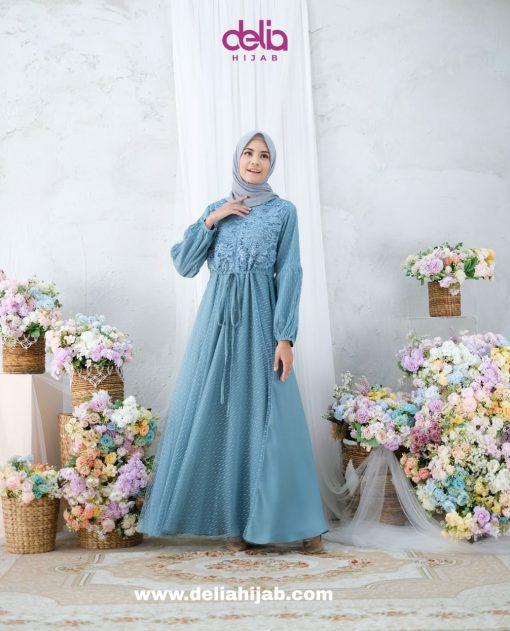 Baju Gamis Lebaran - Kartika Dress - Delia Hijab Tosca