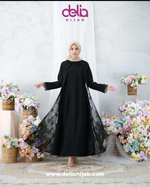 Baju Muslim Lebaran - Karlina Dress - Delia Hijab Hitam