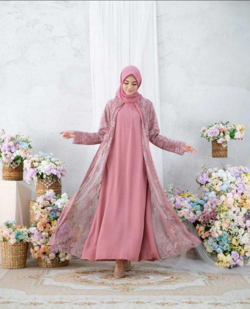 Baju Muslim Lebaran - Karmila Dress - Delia Hijab Pink