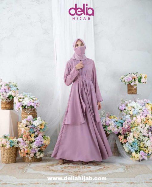 Busana Muslim Lebaran - Karmila Dress - Delia Hijab Lilac