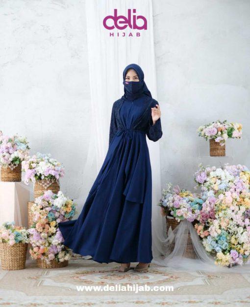 Busana Muslim Lebaran - Karmila Dress - Delia Hijab Navy