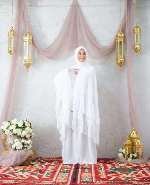 Mukena Lebaran Putih - Mukena Latvia - Delia Hijab