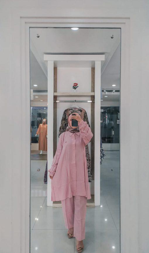 Baju Muslim Casual - Munia Set Tunik - Delia Hijab Violet
