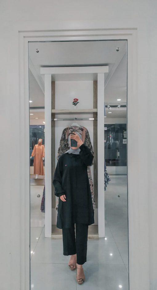 Baju Muslim Casual - Munia Set Tunik - Delia Hijab Hitam