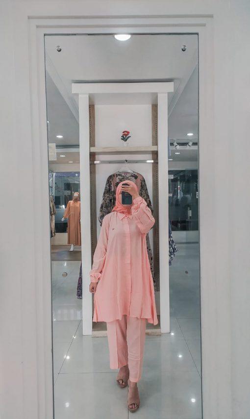 Baju Muslim Casual - Munia Set Tunik - Delia Hijab Pink/Salem
