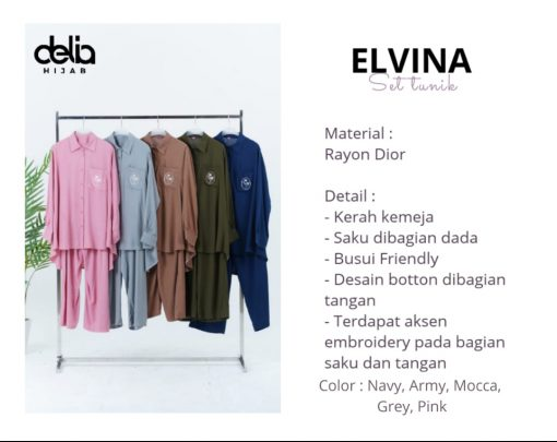 Baju Muslim Casual - Elvina Set Tunik - Delia Hijab